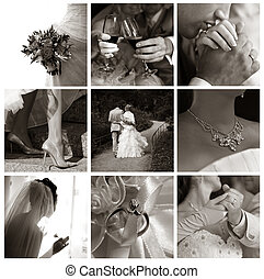 Collage of nine wedding photos in sepia tone
