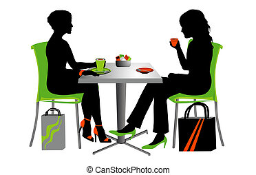 coffee time - Two women at a small table drinking coffee