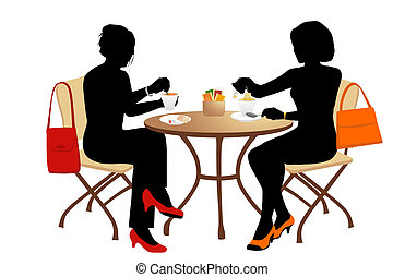 tea time - Two women at a small table drinking tea