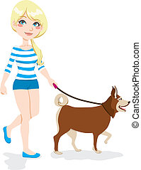 Girl Walking Dog - Young pretty blond girl walking with dog