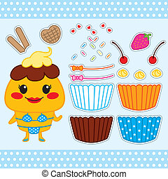 Cute Cupcake Paper Doll - Colorful cute cupcake fashion...