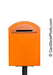 the orange mailbox on white background with clipping path