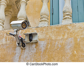 Security camera on the wall