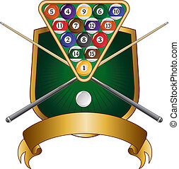 Pool or Billiards Emblem Design Shi - Illustration of a pool...