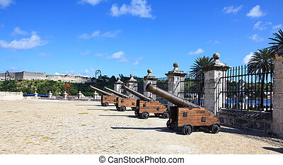 Guns of the castillo de la Real Fuerza. Historic center of...