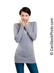 mulher, boca, coberturas, dela, mão