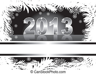 christmas and new year card with 2013 on a black winter...