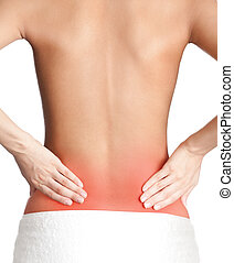 Inflamed back, isolated, white background
