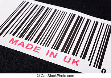 Made in UK and barcode, business concept