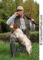 caçador, seu, cão