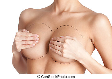 Tits correction Plastic surgery, isolated, white background