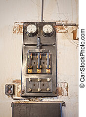 Old high power switch - Retro image of a high power switch