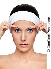 Dreaming about plastic surgery, isolated, white background