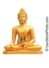 buddha statue on white background - isolated