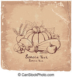 Art picture of vegetables on papyrus