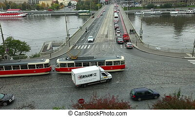 top view on cross road with cars time lapse, Prague