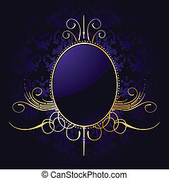 Royal purple background with golden frame Vector - Royal...