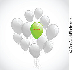Flying balloons. Vector background