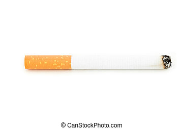 Close up of a cigarette lighted against a white background