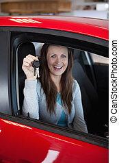 Schlüssel, Auto, frau, Besitz
