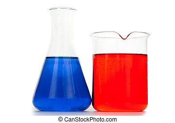 Beaker next to an erlenmeyer against a white background