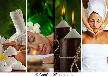 four - Spa theme collage composed of a few images