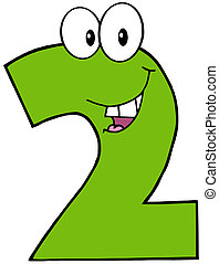 Number Two Funny Cartoon Mascot Character