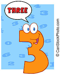 Funny Number Three Character - Funny Number Three Cartoon...