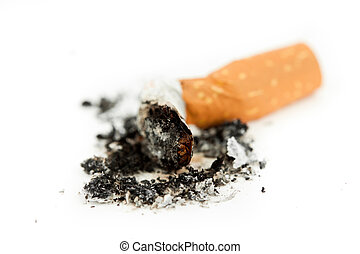 Close up of a cigarette put out against a white background