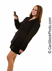 Young woman text messaging - Young brunette caucasian woman...