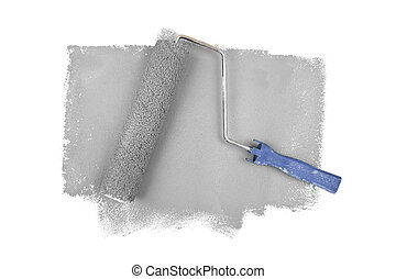 Paint roller on grey traces against a white background