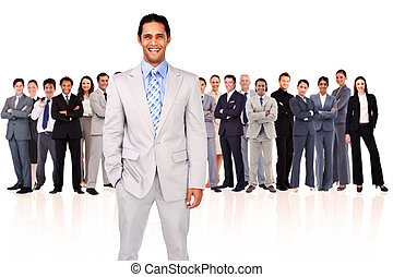 Businessman smiling against a white background