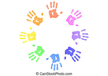 Multicolored handprints forming a circle against a white...