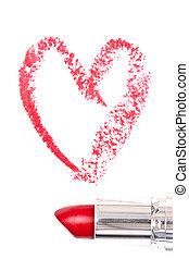 rojo, rastro, lápiz labial, formación, hea