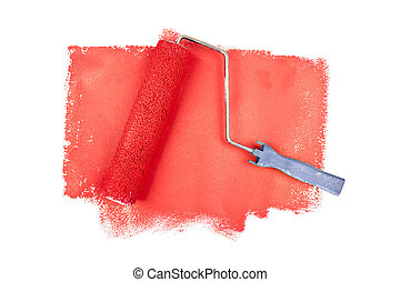 Paint roller on red traces against a white background