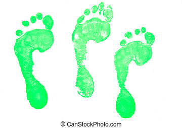 Three green footprints against a white background