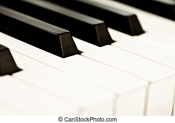 Close up of keyboard of a piano - Close up of black and...
