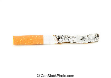 Close up of cigarette put out against a white background