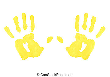 Two yellow symmetric handprints against a white background