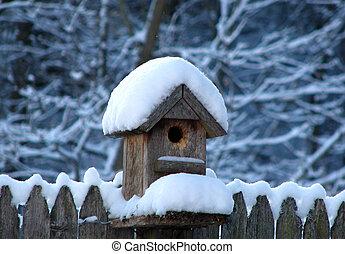 Snowy Bird House - Photo taken after a recent snowfall.