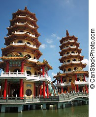 Dragon and Tiger Pagodas in Taiwan - Tiger and Dragon...