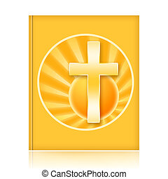 Bible book with golden christian cross and rising sun...