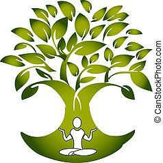 Yoga figure with tree logo vector
