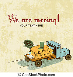 Background with notice about relocation - Truck with...