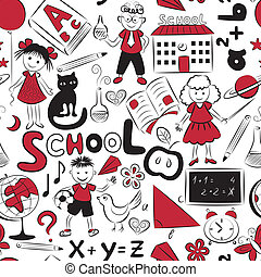 Bright pattern with school theme