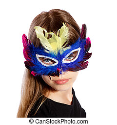 girl with colorful feather masks