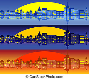Landscape of city Set - City landscape A set of three...