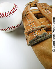 Baseball Mitt and Glove - Macro shot of a baseball and mitt...