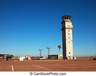 Airport Tower and Tramac - An airport control tower and...