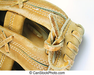 Baseball Mitt - Macro shot of a baseball mitt with a light...